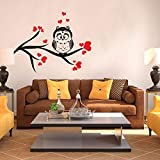 Hoopoe Decor Owl Sitting On The Tree Wall Stickers And Wall Decals, Best Wall Arts For Home Decoration - Multicolour...