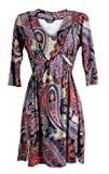 Ladies Multicoloured paisley printed 3/4 Sleeve Tunic Dress Top (12)