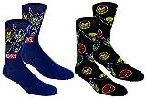 Marvel Avengers Mens Casual Crew Socks 2 Pair Pack Black/blue
