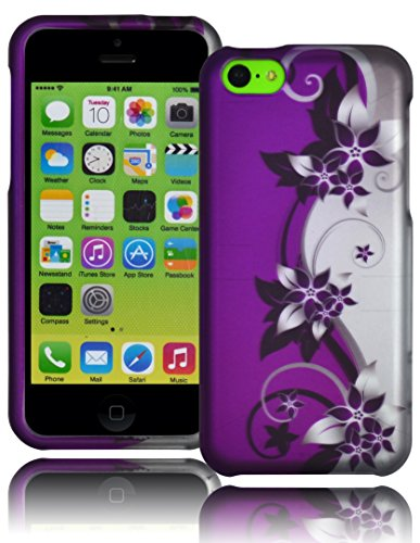 Bastex Snap On Case For Apple Iphone 5C - Silver & Purple Vines With Hibiscus Flowers Design Hard Shell front-622345