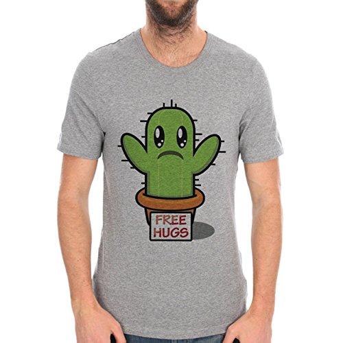 CACTUS FREE HUGS-Maglietta da uomo grigio medium