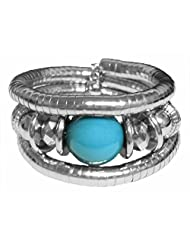 DollsofIndia Metal Spring Bracelet With Blue Stone - Metal - White