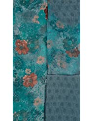 Exotic India Dusty Turquoise Salwar Kameez Fabric With Large Printed - Turquoise