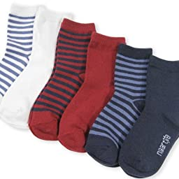 Naartjie Kids Boys Short Crew Socks - Solid and Stripes Mixed Assorted Colors 6-Pack Bright Tone (18-24months)
