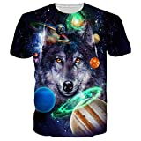 Goodstoworld Unisex 70's Galaxy Space Wolf T-Shirts 3d Planet Universe Printed Leisure Street Wear T Shirt Tees