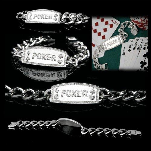 BSS - Silver Link Non-Engraved Poker Bracelet