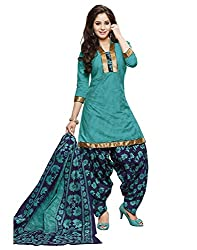 Taos Brand cotton dress materials for women womens dress materials cotton salwar suit New Arrival latest 2016 womens party wear Unstitched dress materials for women (407 summer__light green and blue_freesize
