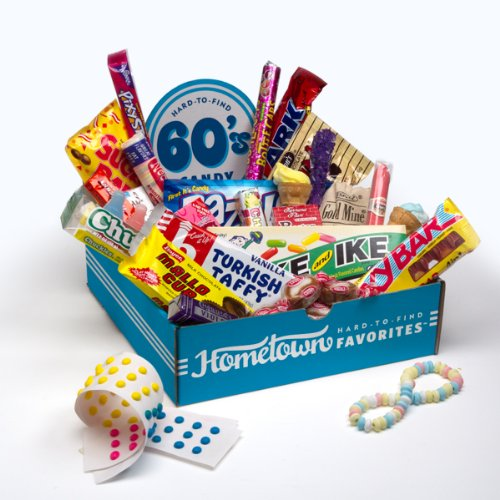 Hometown Favorites 1960's Nostalgic Candy Gift Box, Retro 60's Candy.