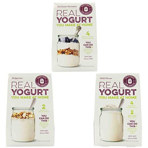 Cultures for Health - (1) Bulgarian (0.4oz), (1) Mild, & (1) Heirloom (both 0.6 oz) Yogurt Flavor Starter Cultures (Yogurt Culture Heirloom compare prices)