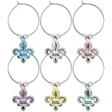 Epic Products 83-113 Vintage Fleur De Lis My Glass Charms (Set of 6), Multicolor