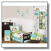 Turquoise and Lime Hooty Owl Toddler Boy or Girl Bedding