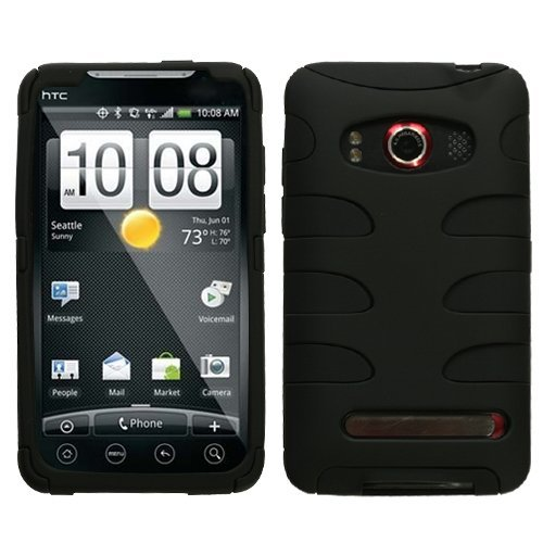 519V1cwvHIL MyBat HTCEVO4GHPCSK040NP Rubberized Fishbone Protective Case for HTC Evo 4G   1 Pack   Retail Packaging   Black