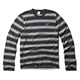 Hollister Co. Guys ARCH BAY T-SHIRT Navy & Grey Stripe Long Sleeve Mens Crew Neck Top