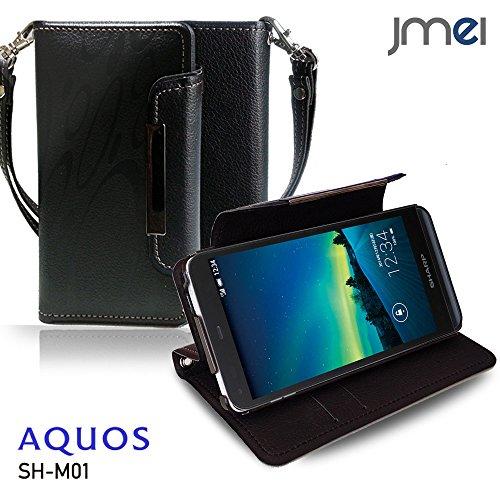 AQUOS SH-M01 ケース JMEIオリジナルレザー手帳ケース Dandy ブラック(柄) 楽天モバイル simフリー アクオス アクオスフォン ストラップ付き スマホ カバー スマホケース 手帳型 スマートフォン
