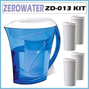 ZeroWater ZD-013 Filtration Pitcher with Electronic Tester + Replacement Filter 4-Pack