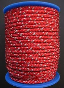 Gepolight Flechtleine/Flechtschnur/Seil stark reflektierend 3mm-20meter rot