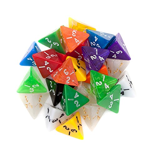 25 Pack of Random D4 Polyhedral Dice in Multiple Colors By Wiz Dice