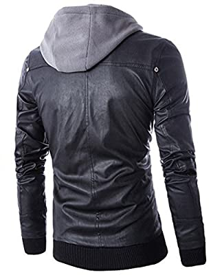 Men's Faux-Leather Two-Pocket Trucker Hoodie Jacket