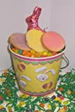 Scott's Cakes 1 lb. Easter Egg Sugar Cookies in a Yellow Bunny Pail with Jelly Beans and Milk Chocolate Bunny