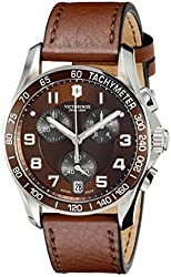 Victorinox Unisex 241498 Chrono Classic Stainless Steel Watch with Brown Leather Band