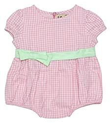Lil Penguin Short Sleeved Girl's bubble romper with Green Bow