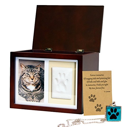 Pet Memorial Box Urn  Clay Paw Impression Kit,