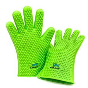 BBQ Gloves That Work! Yes, It Is Made From Thick Food Grade Silicone - Touch Every Hot Foods From Barbeque Grill, Hot Pot, Griddle, or Oven - Fit To All Your Fingers - Easy To Clean Up - Go Crazy With It: Use It As Fireplace Holder, Cooking Glove, Baking