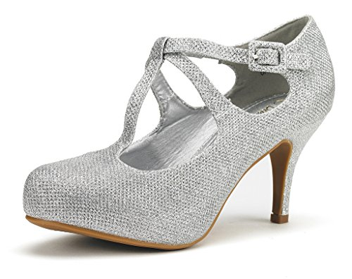 DREAM PAIRS OFFICE-5 Women's New Classic Mary Jane Almond Toe High Heel Platform Pumps Shoes Silver Size 10