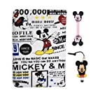 Euclid+ - White Mickey Mouse 360 Degrees Rotating with Swivel Stand Style Fabrics Case Cover for Apple iPad Mini with Mickey Style Anti Dust Stylus Pen and Mickey Mouse Style Cable Tie