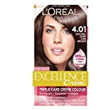 L'Oreal Paris Excellence Hair Colour Kit, Natural Dark Iced Brown Number 4.01 - Pack of 3