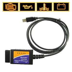 Shopinnov Câble d'interface USB ELM 327 pour diagnostic auto OBD2