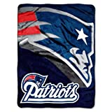 "NFL New England Patriots 60-Inch-by-80-Inch Micro Raschel Blanket, ""Bevel"" Design"
