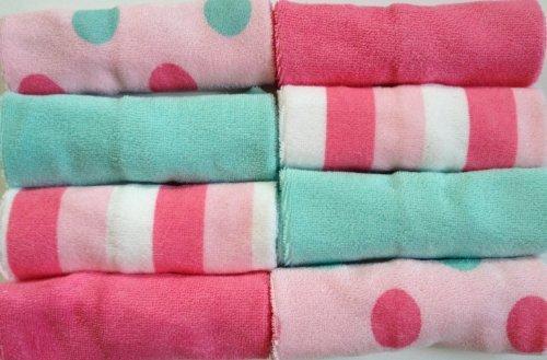 Carter'S Pink Green Multi Dot Stripe Baby Infant Newborn Washcloths Girl 8 Pack front-77912