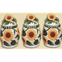 SUNFLOWER 3-D Canister Set of 3 Canisters NEW!