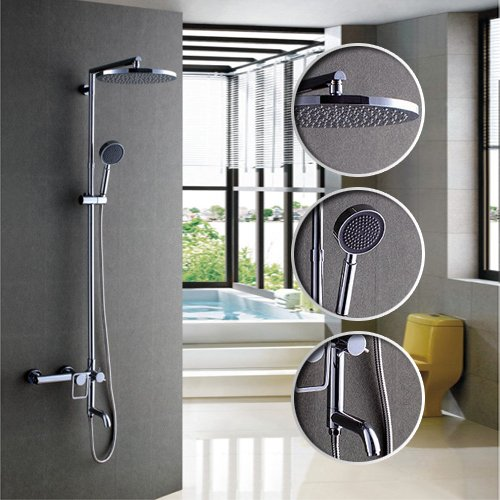 Great Deal! LightInTheBox Single Handle Wall Mount Multifunction Shower and Tub Faucet with 8 Inch Rainfall Showerhead, Chrome