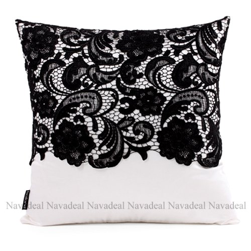 Nava New Black Embroidery Satin Lace Floral Art Decorative Pillow Case Cushion Cover