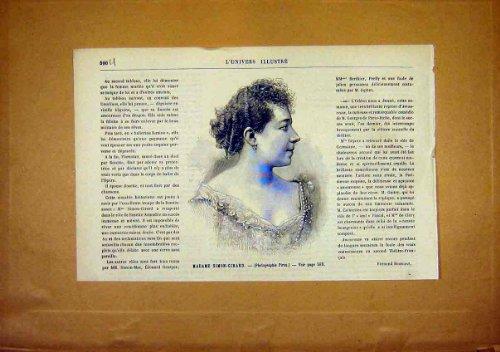 Portrait Simon-Girard Lady French Print 1891