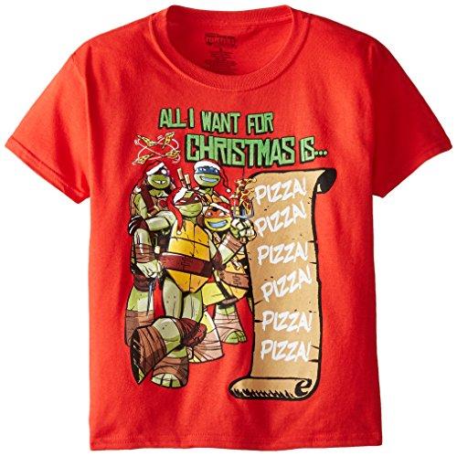 Teenage Mutant Ninja Turtles Big Boys' All I Want For Xmas Short Sleeve Tee, Red, Large