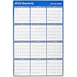 AT-A-GLANCE Yearly Wall Planner Calendar 2016, Erasable, Reversible, Quarterly, 36 x 24 Inches (A1102)