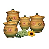 4PC CANISTER SET SUNFLOWER DECOR