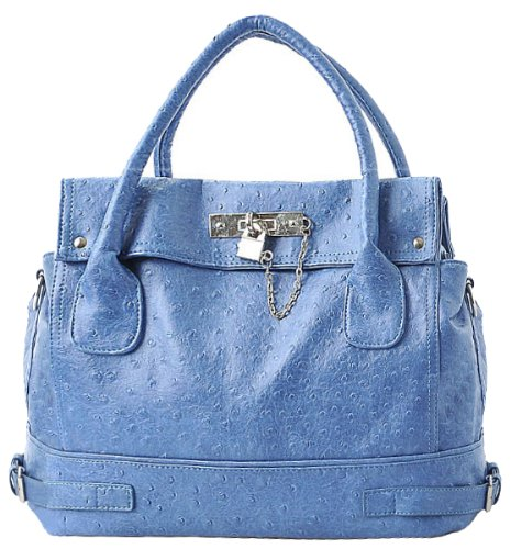 Blue Chic Office Tote Soft Leatherette Embossed Ostrich Double Handle Satchel Handbag Shoulder Bag w/Detachable Strap