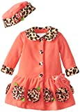 Bonnie Baby Girls' Coral Fleece with Leopard Trim Coat and Hat Set