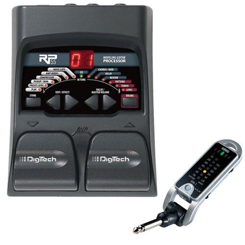 Digitech Rp55 Guitar Multi Effects With Korg Gb1Bk Folding Keychain Pocket Tuner