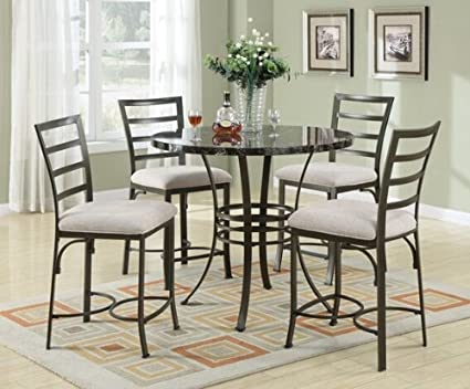 5 pc Val collection round black faux marble top counter height dining table set with dark metal finish frame