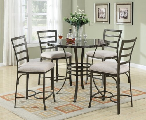 5 pc val collection round black faux marble top counter height dining table set with dark metal. Black Bedroom Furniture Sets. Home Design Ideas