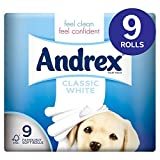 Andrex Classic White Toilet Tissue 9 Rolls Pack of 5 (Total 45 Rolls)