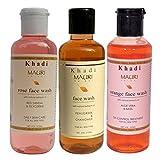Khadi Mauri Ayurvedic Herbal Face Wash Combo Pack of 3 Rose Orange & Fenugreek (Methi) Natural & Organic 210 ml each