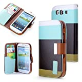 ATC Wallet PU Leather Case Card Holder Flip Case Cover for Samsung i9300 Galaxy S3 III - Blue+Black+Green