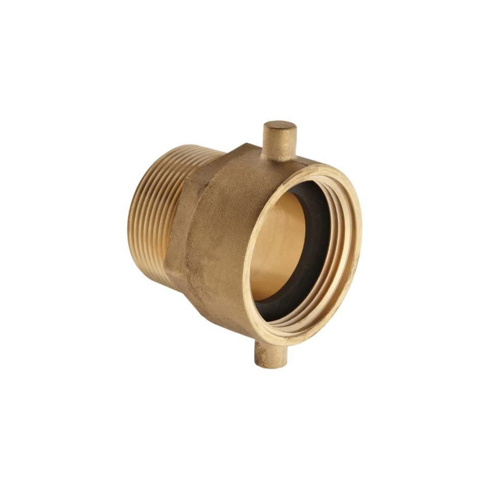 Moon 363 1521561 Brass Fire Hose Adapter, Pin Lug Swivel, 1 1/2 NH Swivel Female x 1 1/2 NPT Male