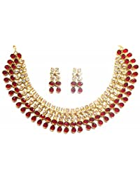 Shingar Jewellery Ksvk Jewels Antique Gold Plated Polki Kundan Necklace Set For Women (9255-as-ruby)